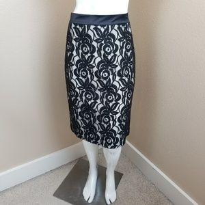 ANN TAYLOR Black Floral Lace Lined Pencil Skirt~12